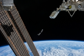 Cubesats being released from the Nanoracks launcher aboard the ISS