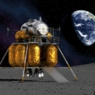 A spacecraft on the surface of the moon