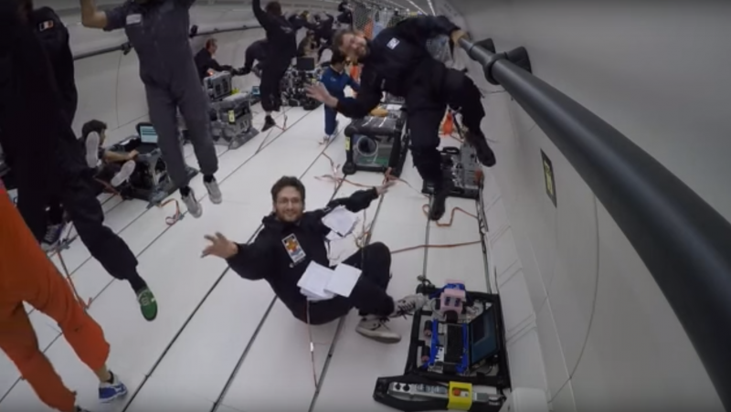 PhD candidate Joshua Brandt with ACSER Supervisor Dr Barnaby Osborne during Zero-G testing aboard a parabolic flight run by Novespace, out of Bordeaux in October 2015