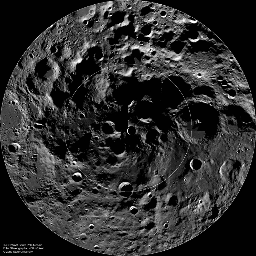 Lunar South Pole, as mapped by the NASA LRO Mission (Photo credit: NASA)